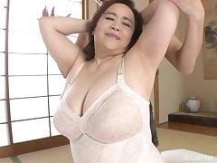 Busty Japanese piece of baggage Hayama Nobuko gets fucked on touching missionary