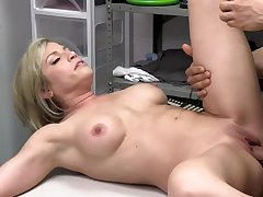 Security functionary blackmails sexy blond MILF into quick affair