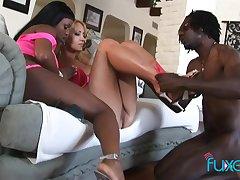 Trina Michaels plus Jada Fire interracial threesome in someone's skin ghetto