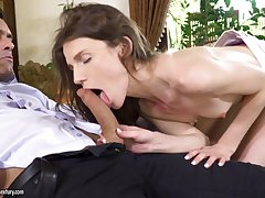 Delicate brunette babe Nelya gets her asshole pounded with an increment of cream pied