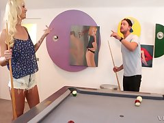 Tow-headed Brooke Banner has to fuck for loosing a game of pool