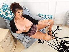 English milf Gilly pleasures her nipples and unfair