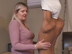Blonde horny mature MILF Velvet Skye pounded by a younger black guy