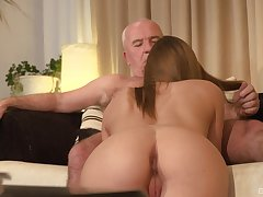 Teen mart babe seduces an old guy plus sucks his obese dick