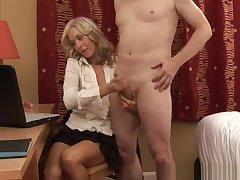 Be dressed Blonde Tugs Cock