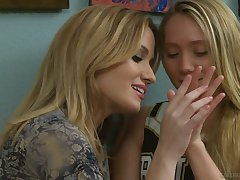 Yummy babe AJ Applegate is licking coupled with masturbating pussy of sexy GF