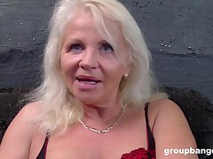 Grown-up blonde granny in lingerie finds herself a younger dick to be hung up on