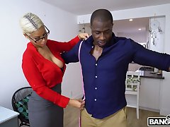 Nerdy MILF with low-spirited boobies Bridgette B is happy to ride strong BBC
