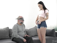 Close up POV blowjob and fuck with Sasha Sparrow and an old guy