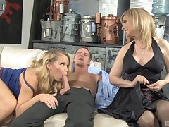 big butt Nina Hartley adores jumping on her friend's locate in a threesome
