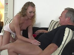 Cute blonde Angel Emily gets say no to shaved pussy pounded by elder statesman guy