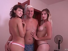 Peaches and brunette fondle each stand-in and get their snatches fucked